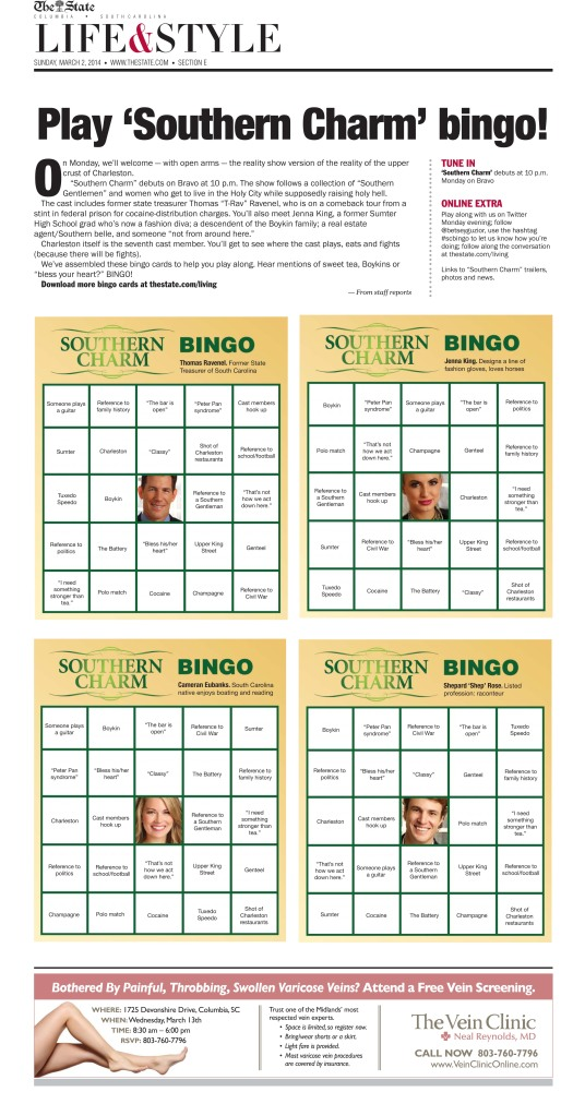 """Bingo cards for the premiere of a Charleston, SC-based reality show, """"Southern Charm."""""""
