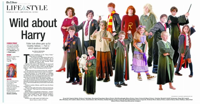 """To celebrate the last of the """"Harry Potter"""" movies, we asked readers to send in lookalikes photos. Next, we invited them to the office for an evening of Potter fun, including a shot that would appear in the paper. We covered the midnight opening with photos and videos live."""